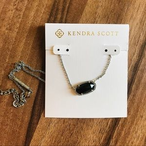 Kendra Scott Elisa silver black pendant necklace